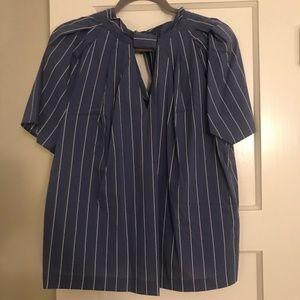 Eloquii - Striped Blue Blouse
